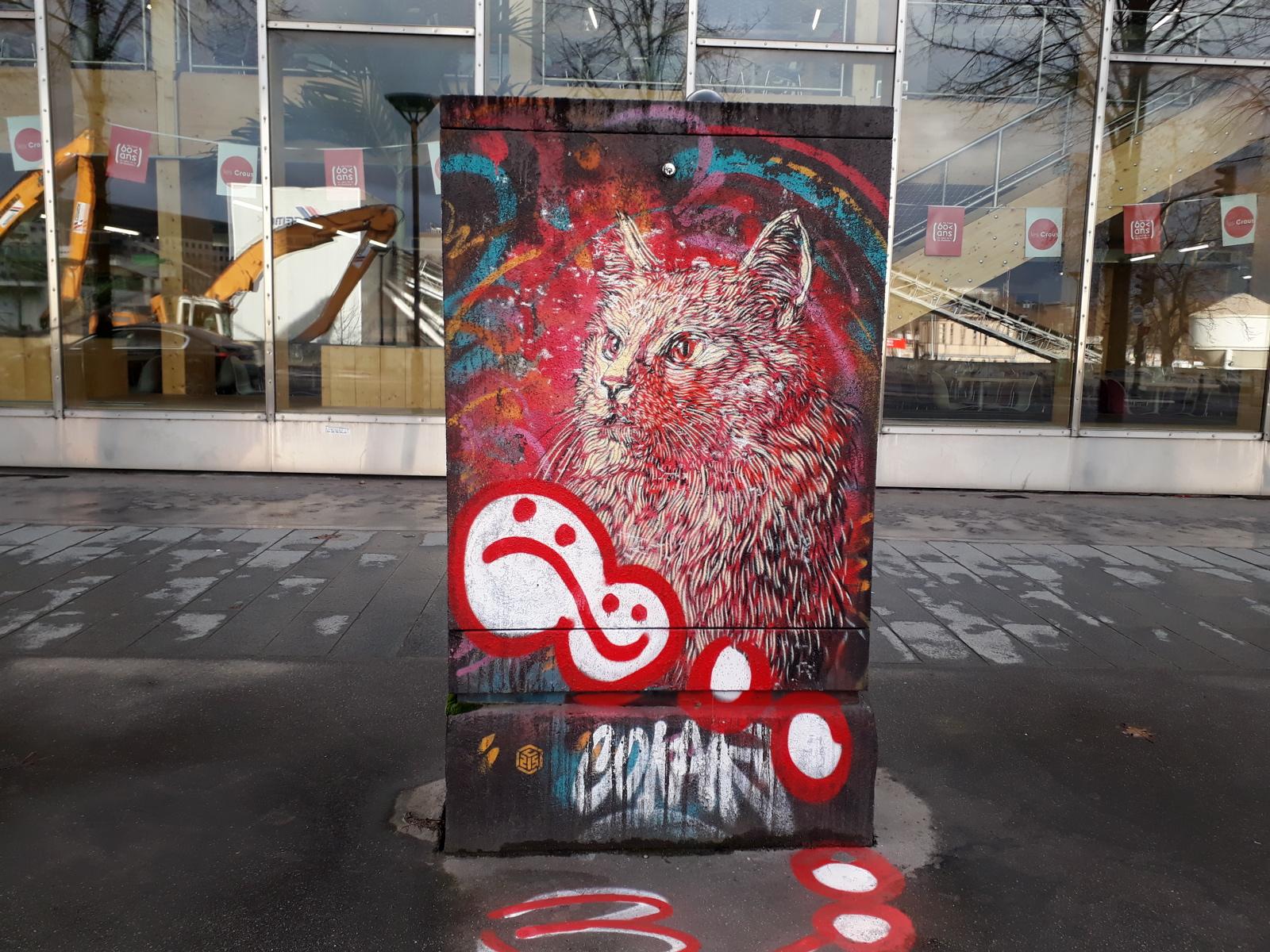 street art chat rouge c215