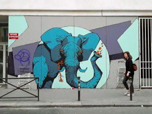 street art elephant retrograffitism