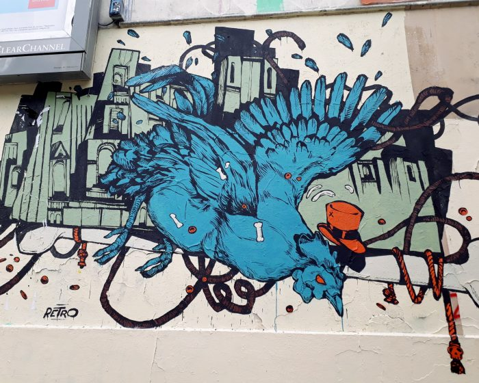 street art oiseau retrograffitism