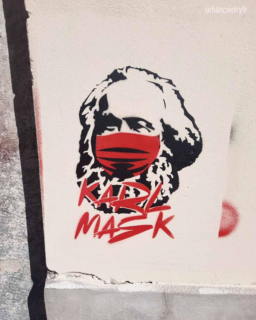 Karl Marx avec un masque covid oblige