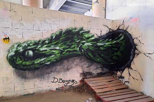 Serpent 3D dr bergman paris street art urban poetry