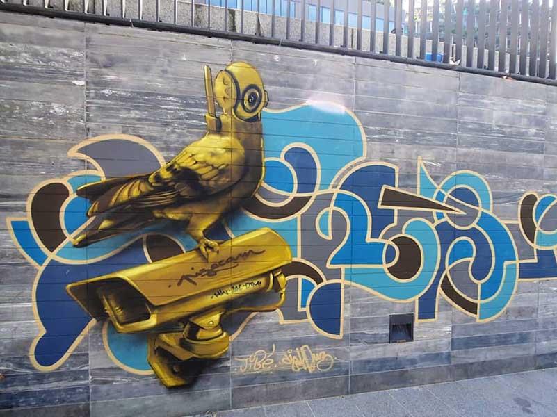 video surveillance djalouz jibiz street art paris urban poetry