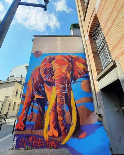 lelong street art elephant urban poetry paris